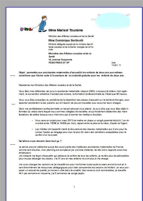 Exemple De Lettre De Démission D Une Nounou Ma Lettre 224 Notre Ministre Des Affaires Sociales