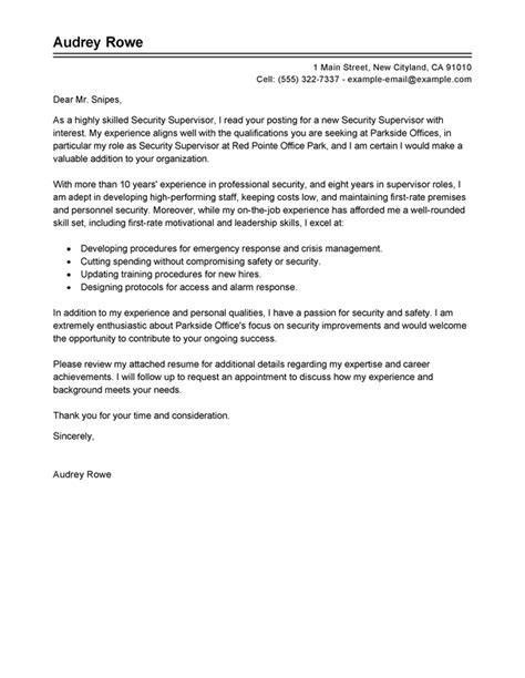 cover letter for supervisor position best security supervisor cover letter exles livecareer