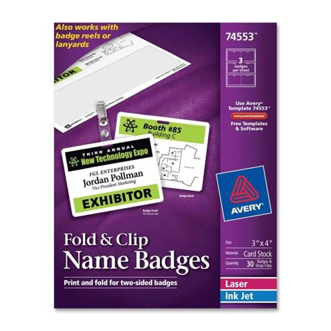avery templates for name badges avery name badge insert 30 box white quickship