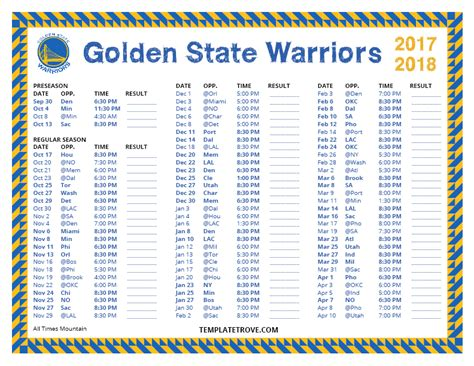 printable 2017 2018 golden state warriors schedule