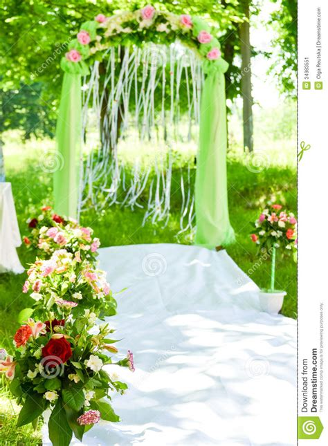 Background Wedding Outdoor by Wedding Ceremony Arch Decoration Stock Image Image 34983551
