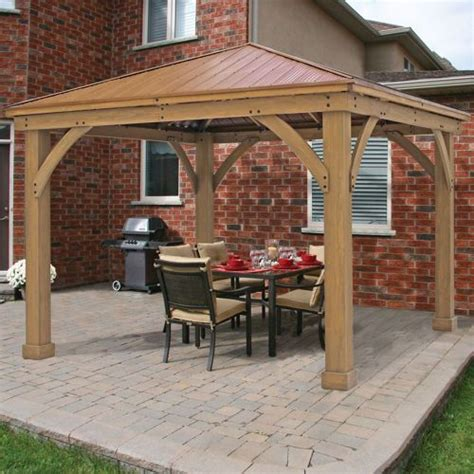 Patio Gazebo Costco Cedar Wood 12 X 12 Gazebo With Aluminum Roof Costco Backyard Landscape Ideas Pinterest