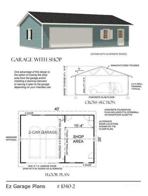 3 Car Detached Garage Plans by Ez Garage Plans