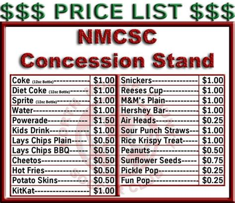 concession card template concession stand menu template free beautiful template
