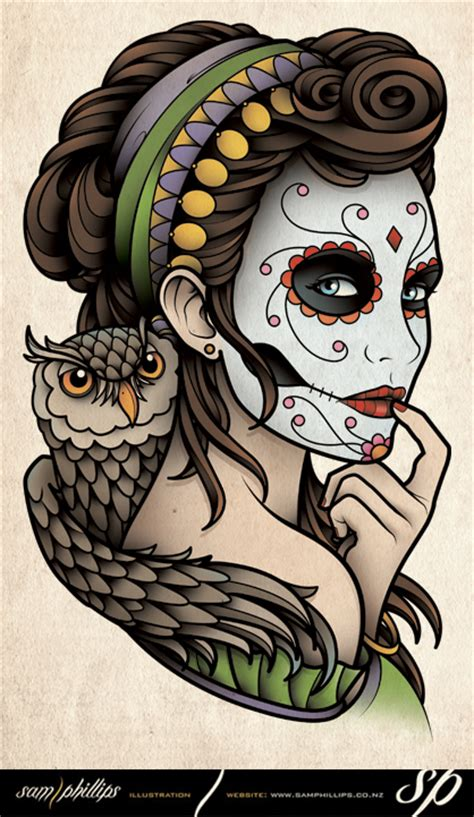 sam phillips tattoo designs owls flash sugar skull of