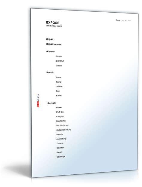Vorlage Word Expose Makler Expos 233 Gewerberaum Vorlage Zum