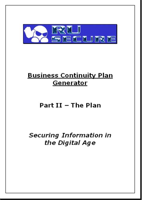 cover page for business plan template disaster recovery shop disaster recovery sle plans