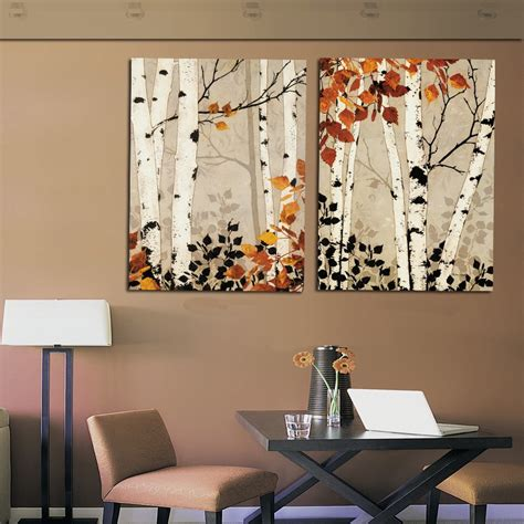 modern home decor abstract tree painting birch trees