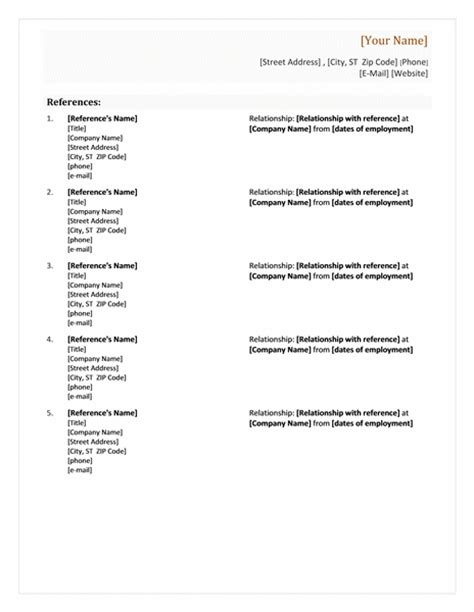 references list format how to write resume references list reference