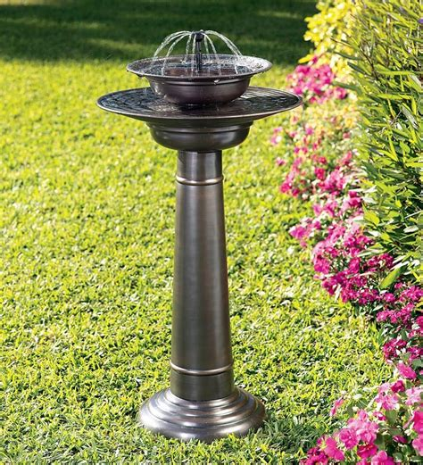 solar powered backyard fountains solar powered two tier stainless steel fountain birdbath