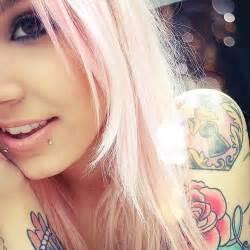 cuteeee tattoos hair pink snake bites