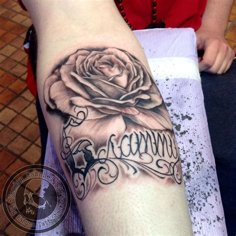 rose tattoo with writing jordancbellart black and grey script