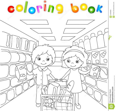 printable coloring pages grocery store a boy and a are shopping in a store stock vector