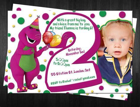 barney photo birthday invitation custom by finaltouchesartwork 10 00 isabell s 2nd birthday