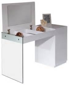 Modern Bedroom Vanities Volare Modern White Floating Glass Vanity With Mirror