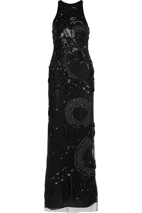 D1787d Sabrina Layer Split Dress emilio pucci layered embellished silkchiffon and mesh gown in black lyst