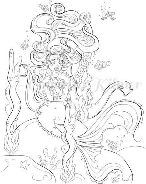 mermaids grayscale coloring book coloring books for adults books mermaid coloring page coloring page mermaid