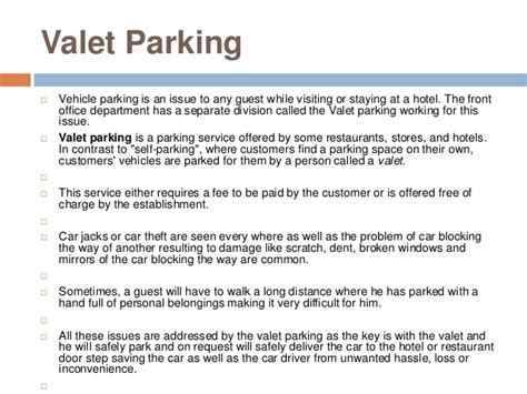 Valet Attendant Description by Hotel Security 2