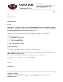 Appointment Letter Format Notice Period Nabros Labs Offer Letter