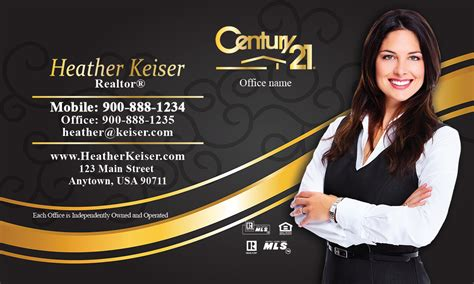 century 21 business card with photo black and gold