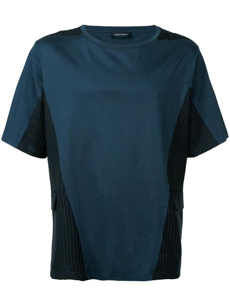 Striped Panel lyst consistence striped panel t shirt in blue for