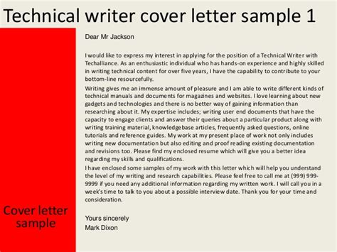 cover letter writer technical writer cover letter