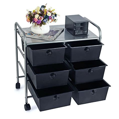 6 drawer cart on wheels easeoffice 6 drawer rolling storage cart with heavy duty