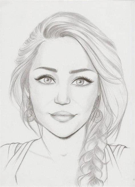 girl face drawing drawing miley cyrus desenhos de famosos pinterest