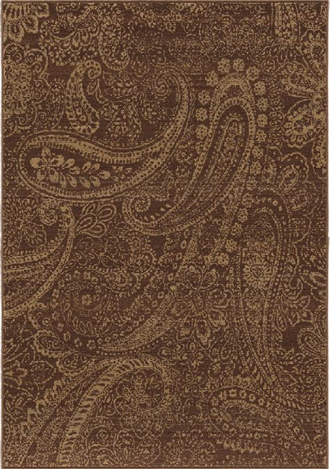 Paisley Area Rug Brown Paisley Leaves Petals Curls Transitional Area Rug Floral 3512