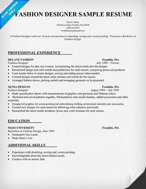Fashion Design Resume by Fashion Designer Resume Sle Resumecompanion