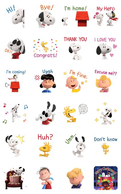 theme line snoopy free snoopy the peanuts movie animated talking pop up