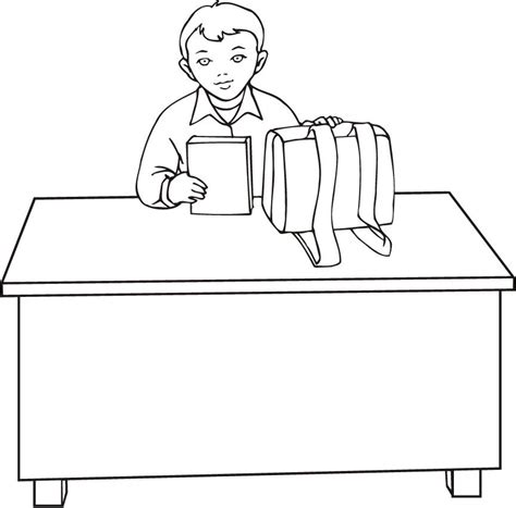 Coloring Desk For by Coloring Pages Of A Boy Sitting On Desk For Studying
