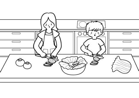 dibujos de cocina para colorear en la cocina dibujo para colorear e imprimir