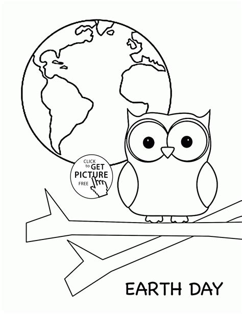 cute owl and earth planet earth day coloring page for