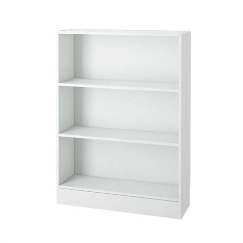 Wide White Bookcase tvilum element wide 3 shelf white bookcase ebay