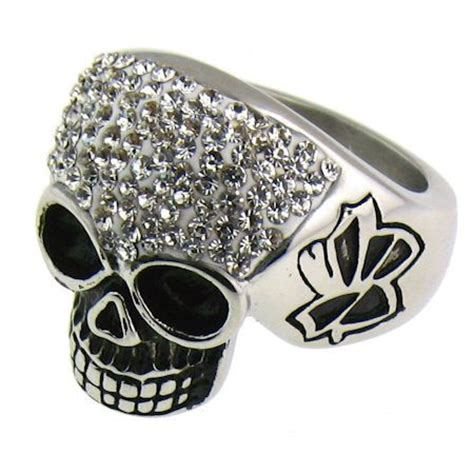 wholesale stainless steel cz skull ring wholesale steel