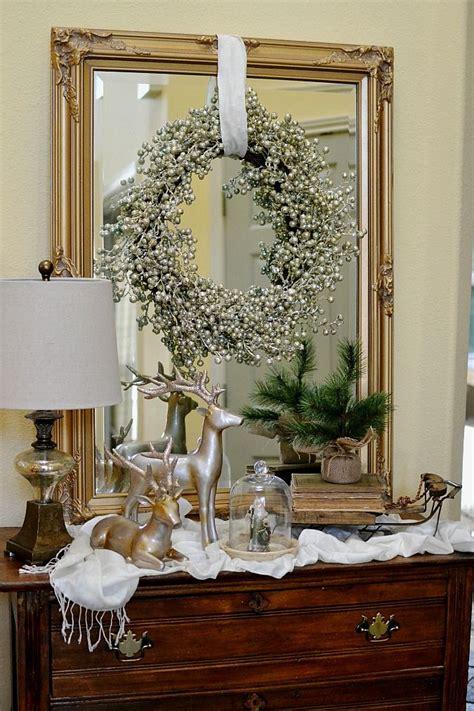 glam ish christmas entry decor christmas entryway table