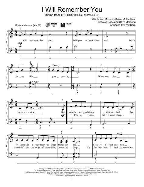 i remember you piano sheet music i will remember you sheet music by fred kern educational
