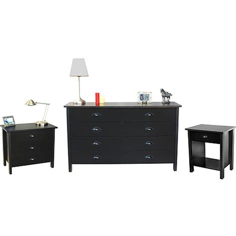 Dressers And Nightstands nouvelle dresser chest and nightstand set black walmart