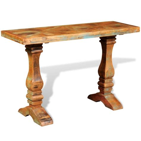 unfinished wood console table reclaimed solid wood console table vidaxl co uk