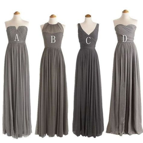 Gray Floor Length Bridesmaid Dresses by Grey Cheap Simple Mismatched Styles Chiffon Floor Length
