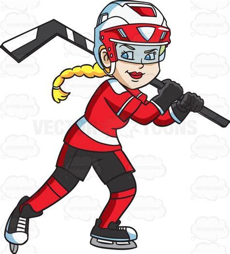 hockey clip a happy hockey player clipart vector