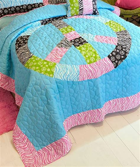 Zebra Patchwork Quilt - tween peace sign animal print zebra patchwork quilt