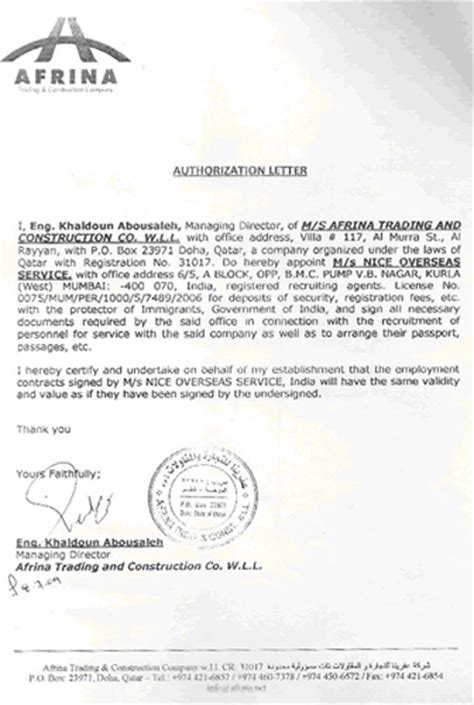 Offer Letter Sle Qatar Demand Letter Power Of Attorney Sle Overses Service