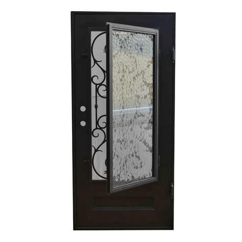 Wrought Iron And Glass Doors Grafton Exterior Wrought Iron Glass Doors Vine Collection Black Left Inswing 82 Quot X38 Quot Flat Top