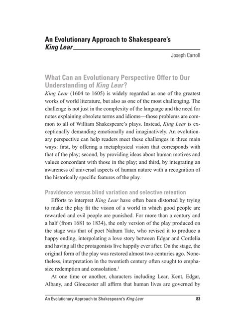 King Lear Essay Topics by Research Paper King Lear