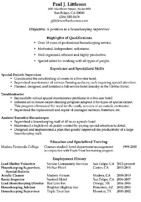housekeeping resume qualifications 28 images sle housekeeping manager resume resume