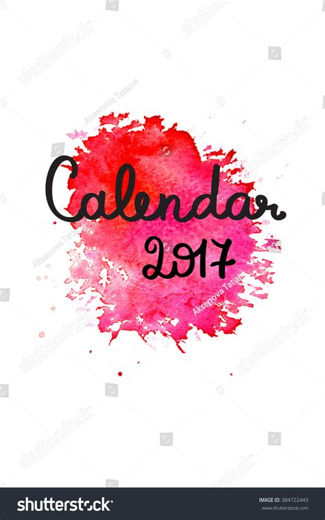 calendar 2017 cover template blue watercolor stock