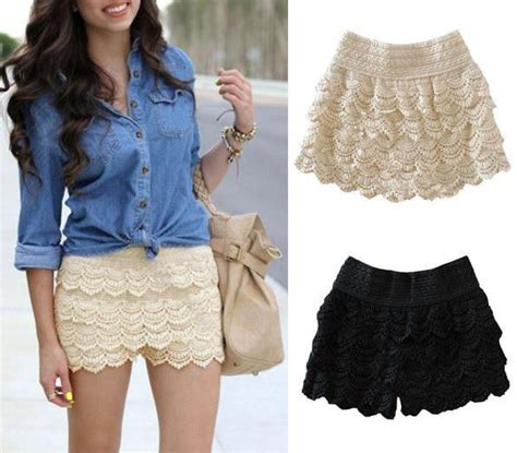 fashion mini lace tiered shorts skirt