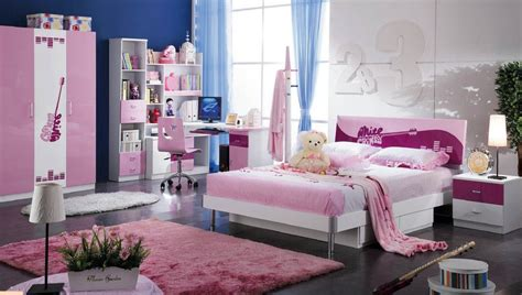 surprising teen bedroom sets  modern bed wardrobe study desk pink fur rug  teen room